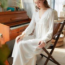 Женское кружевное ночное белье, длинные ночные сорочки для невесты, женское милое платье принцессы для сна, женское кружевное сексуальное н...(Китай)
