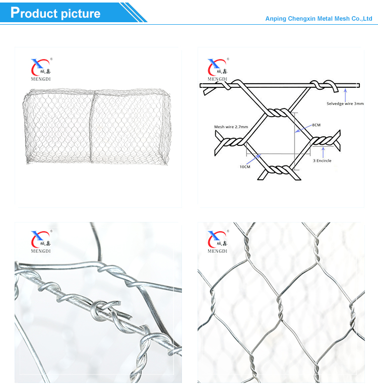 2m x 1m x 1m Hot Galvanized Gabion Basket Galvanized Wire Mesh Gabion Box Price