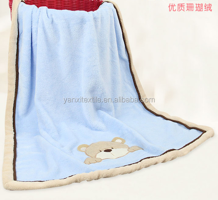 Cartoon animal cute baby blanket covered with coral fleece edge blanket baby cuddle nap blanket
