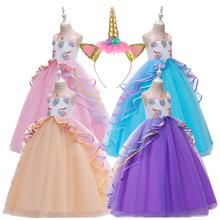 3-14 years unicorn dresses in stock fashion prom event frock beautiful festival style party flower girl dress DJS009