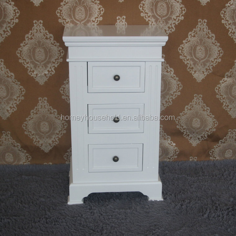 White 3 Drawers Bedside Table Nightstand Storage Furniture Wooden