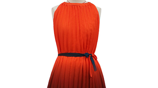 Turkish New Look A-Line 100% Polyester Material Pleatted Long Dress with Grading  color Sleeveless casual dresses