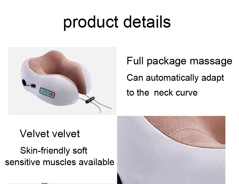 U Shaped Electric Neck Vibration Travel Pillow Massager For Home, Office, Airplane