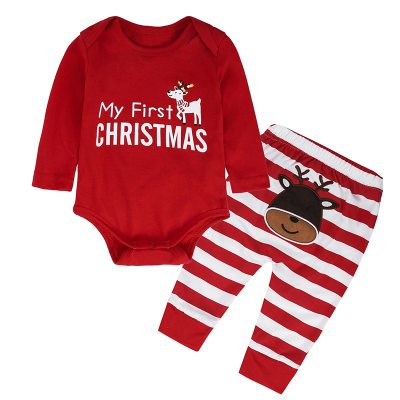 Onbest Infant <strong>Christmas</strong> Two Pieces Set New Born <strong>Baby</strong> My <strong>First</strong> <strong>Christmas</strong> Outfit Romper Pants