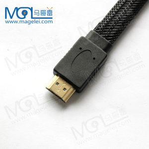 New Top Quality Male to Male Flat Black Nylon Braided HDMI Cable with Ethernet