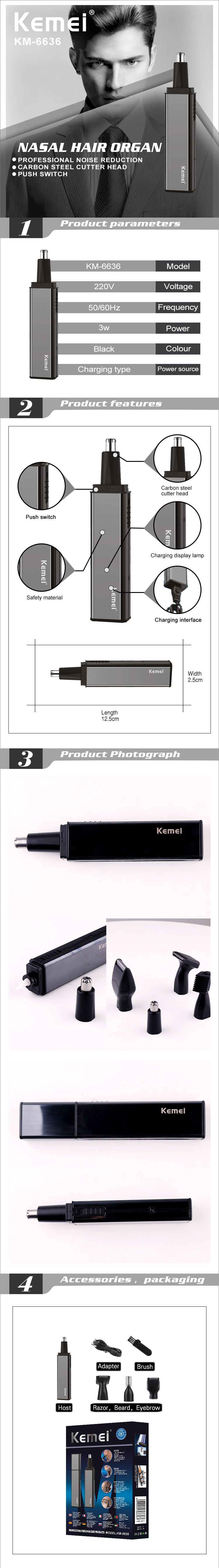 Kemei KM-6636 4 in1 Electric Ear Nose Hair Trimmer Shaver Clipper Cleaner Shaving Safe Face Care Shaving Device