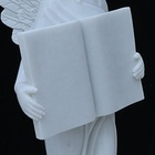 Factory custom made natural pure white marble angel wings tombstone