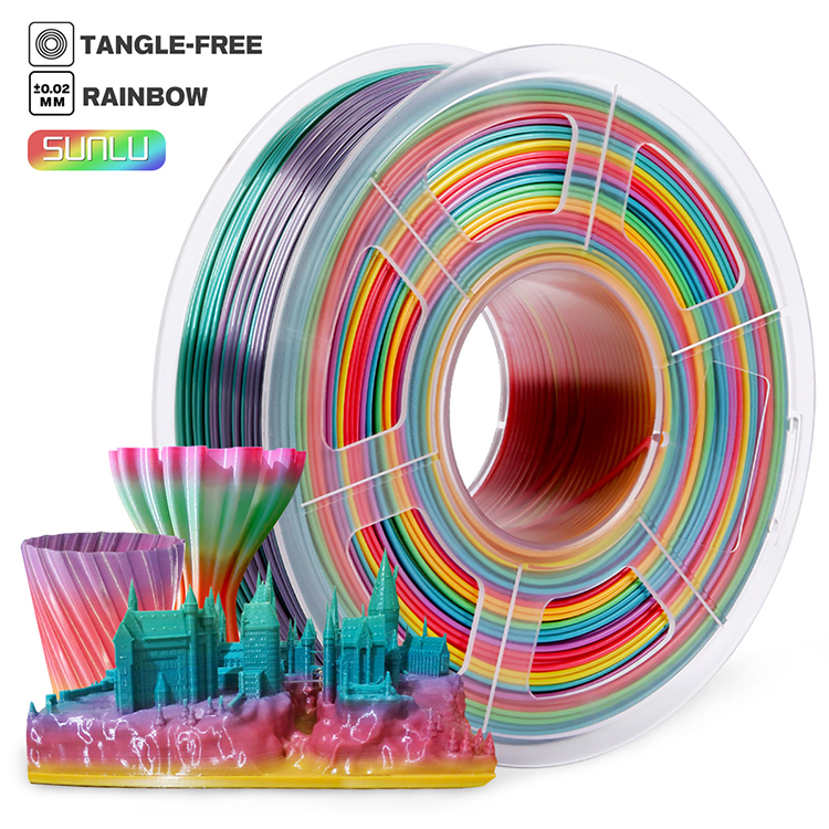 Sunlu Rainbow Filament 1.75 mm 3mm  1kg For 3D Printers