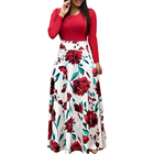 Womens Summer Autumn Vintage Floral Print Patchwork Long Sleeve Maxi Dresses Plus Size Casual Dress