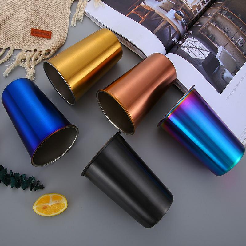 WeVi 500ml portátil copa de café de acero inoxidable de doble pared de viaje al aire libre de taza con tapa y paja