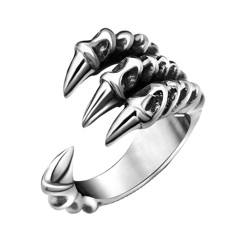 रेट्रो ड्रैगन पंजा टाइटेनियम स्टील गुंडा समायोज्य छल्ले शांत पुरुषों की अंगूठी सामान ड्रॉप शिपिंग