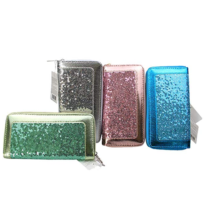 Women PU <strong>Leather</strong> Handbag Wallet <strong>Clutch</strong> with Sequin Ladies Wristlets Bag Purse