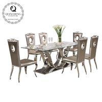 Living Room Furniture tempered glass top stainless steel dining table set