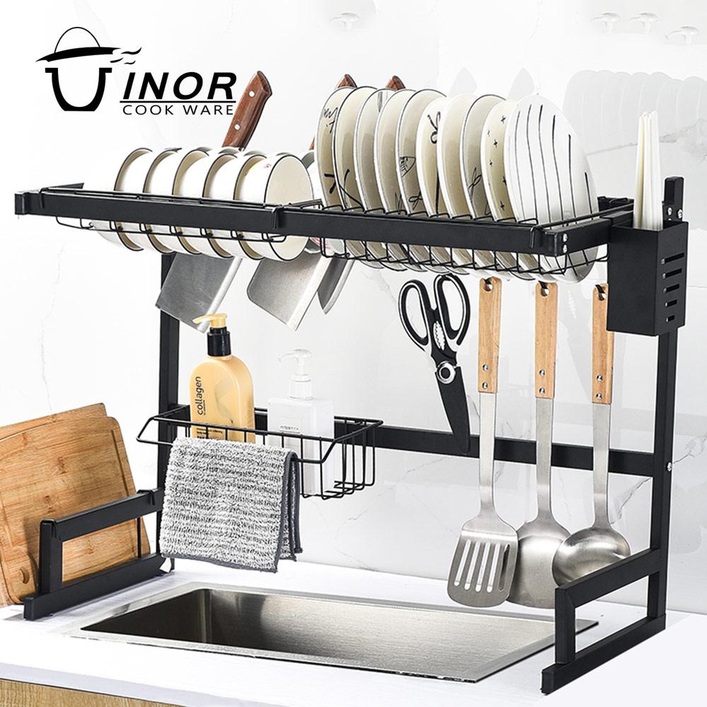 Kitchen organizer dish drying rack over the sink - adjustable stainless steel dish drainer rack shelf storage holder