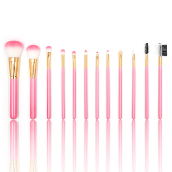 High quality 12 piece/set wood pro art cosmetics pink handle makeup brushes