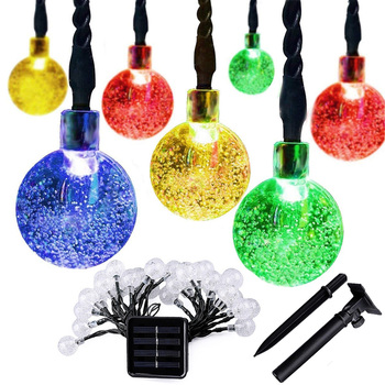 8 modes Color Changing solar christmas decorative led lights outdoor 12m solar bubble string lights for Garden
