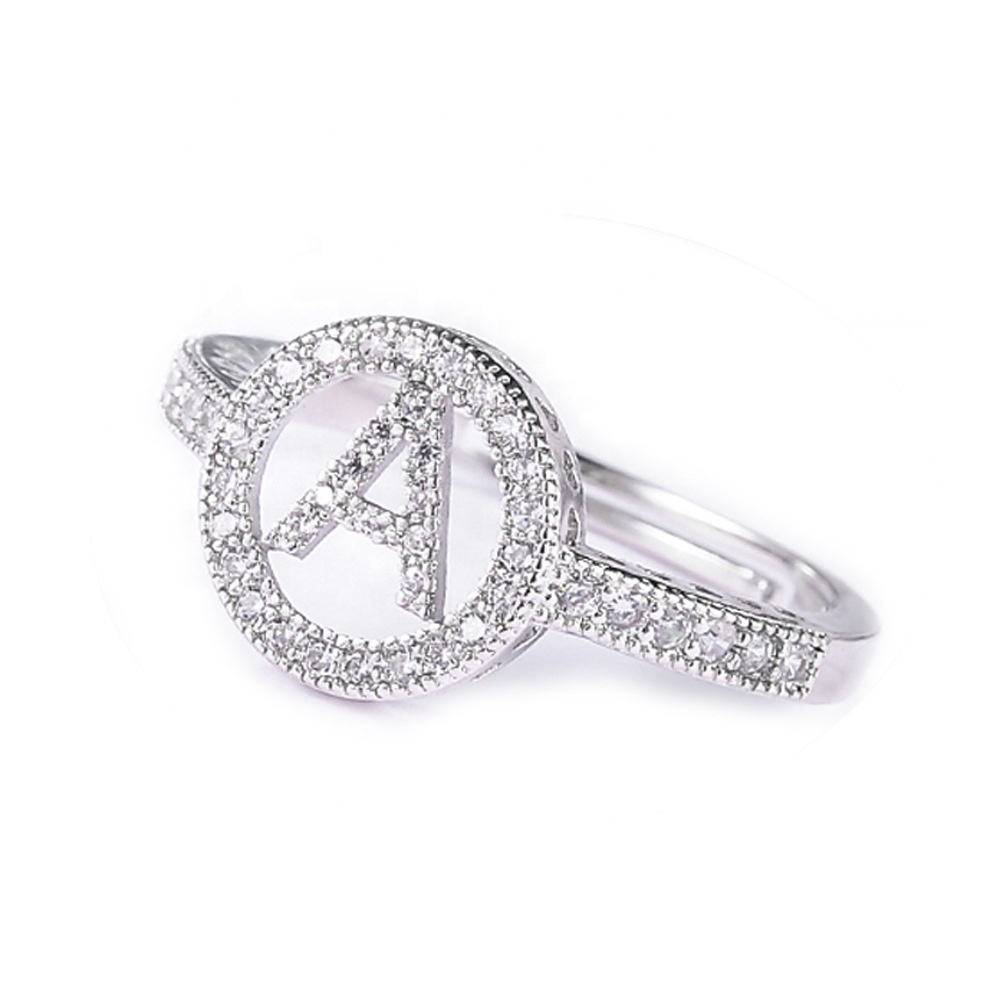 Fashion 26 Letters Silver Ring Women Simple Exquisite A Z Open Finger Ring Initial Zircon Letter Name Engagement Finger Rings Ab Buy Hot Sale 26 Alphabets Letters Rings Women S Adjustable Wedding Cuff