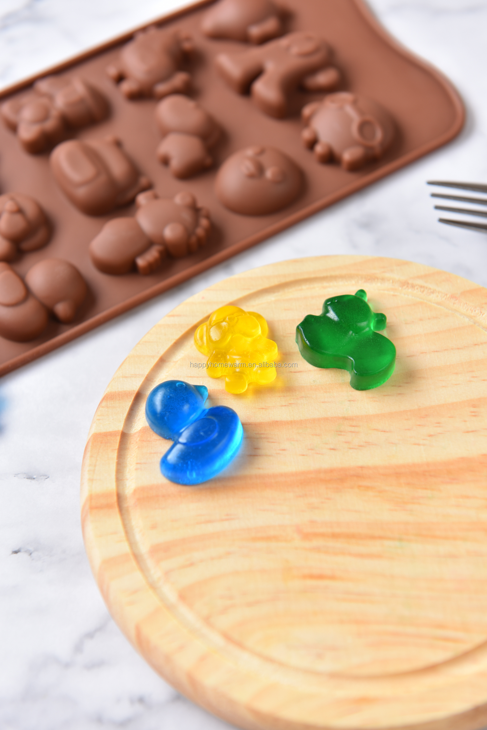 Eco-Friendly 12 Cavities Duck Jelly Baking Muffin Mold Cake Pan Ice Candy Soap Tray Silicone Bakeware Chocolate Mould