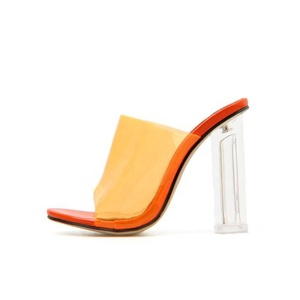 PVC Jelly Sandals Open Toe High Heels Women Transparent Slippers Shoes Heel Clear Sandals size 35-42