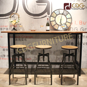 Bar Table Solid Wood Bar Furniture Table Top Wooden Dining Table Restaurant With Metal Legs