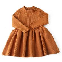 2019 г. Осень-зима; шерстяной вязаный свитер для девочек; платье для маленьких девочек; вечерние платья для девочек; одежда для маленьких девоч...(China)