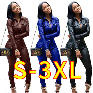 1688 Fashion boutique two piece pu leather jacket set fall clothing for women