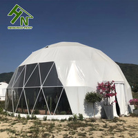 30 person big dome camping tent, luxury round metal gazebo glamping tent