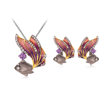 Ladies Charm Earrings Jewelry Type Handmade Goldfish Earring Pendant Sets With White Topaz/Amethyst