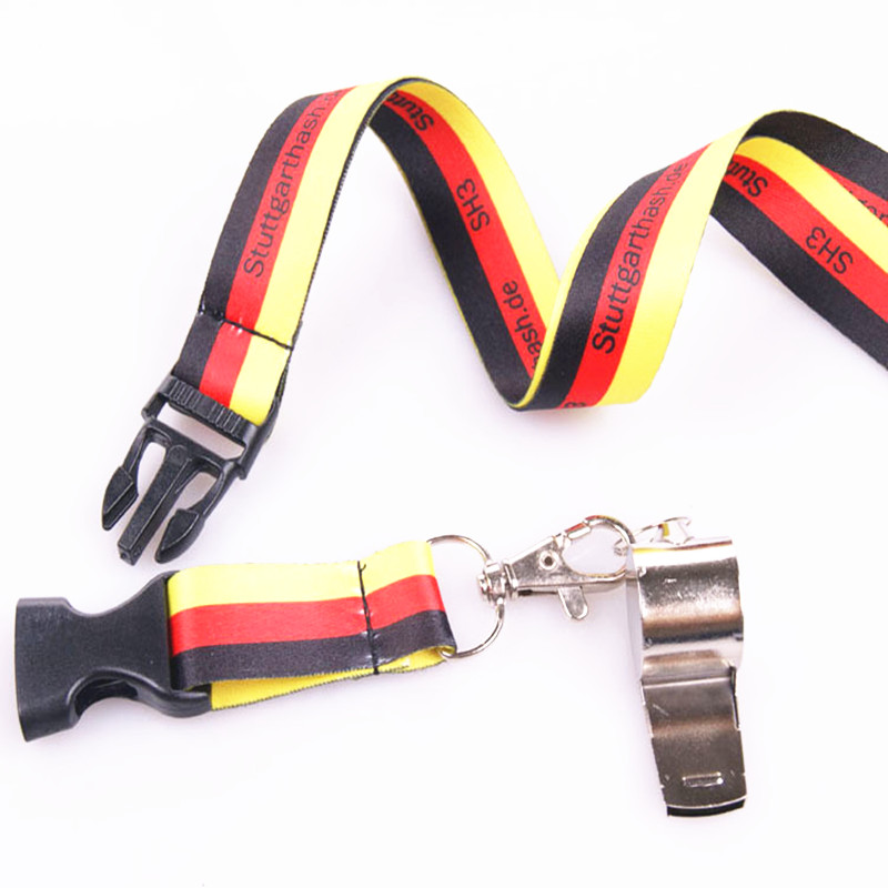 Sports team coach sublimation fashion belt police neck strap children gift whistle lanyard