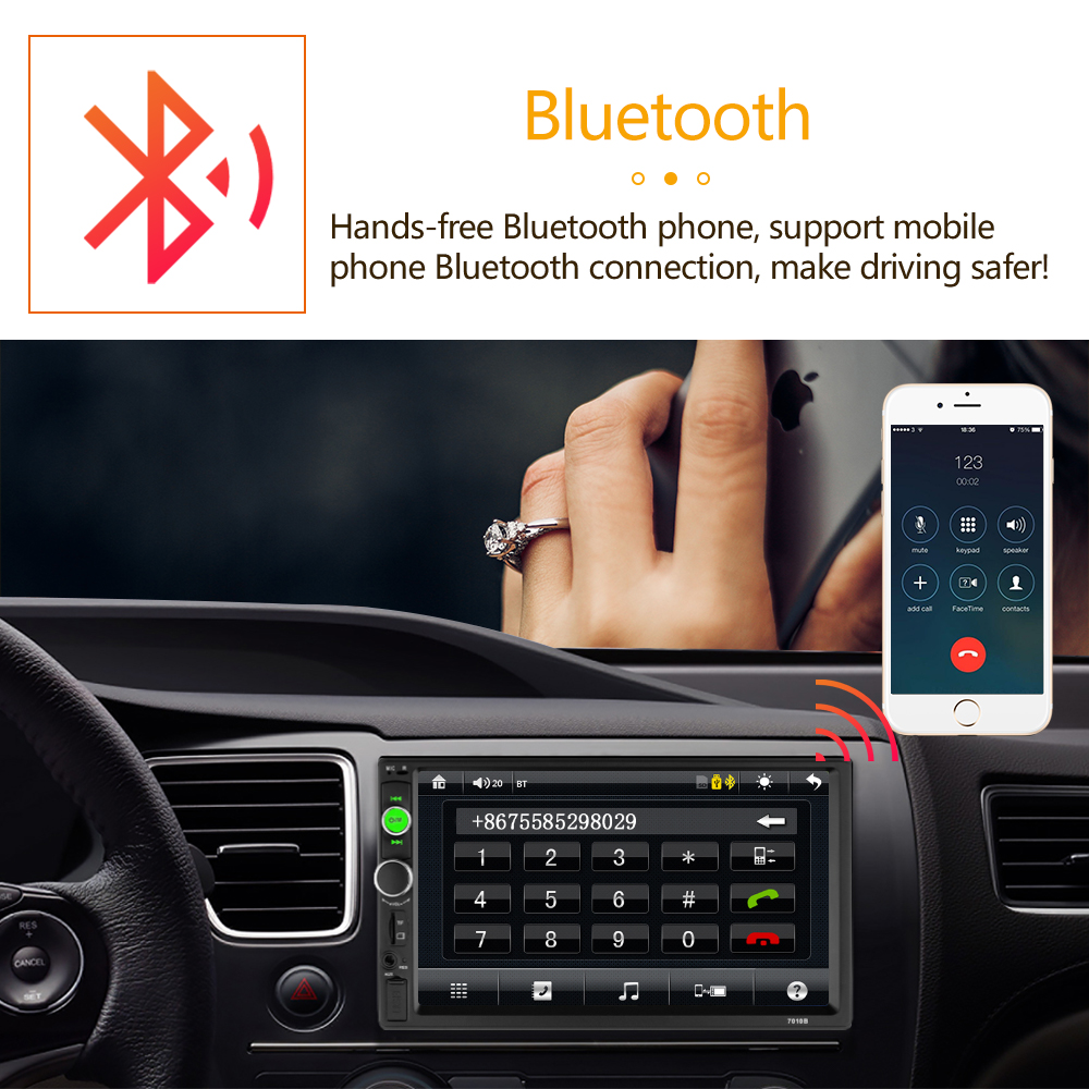 Pantalla táctil Bluetooth activado 7 pulgadas 2din car video