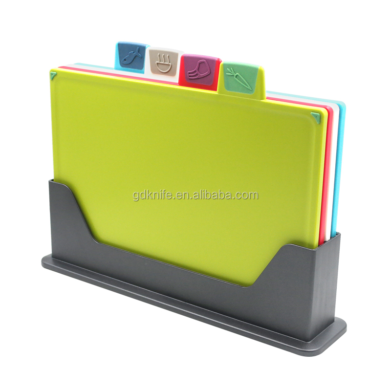 New Design Colored 4 pcs Plastic non-slip food icons index Chopping Cutting Board With stand