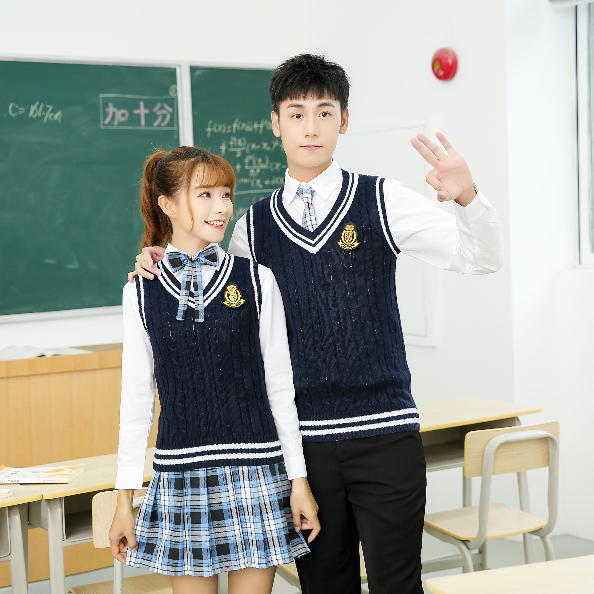 Y902  Boys And Girls White Shirts Knitted Vests Skirts Pants Middle School Uniforms