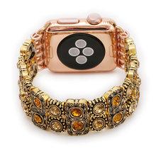 Роскошный Золотой Алмазный ремешок для часов Apple, 38 мм, 42 мм, 40 мм, 44 мм, металлический ремешок премиум класса для часов Iwatch серии 5 4 3 2 1, брасле...(Китай)