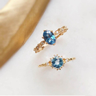Peishang Brand 925 Sterling Silver Natural Stone Swiss Blue Topaz Ring Gold Plated Cz Cubic Zirconia Rings Jewelry Wholesale