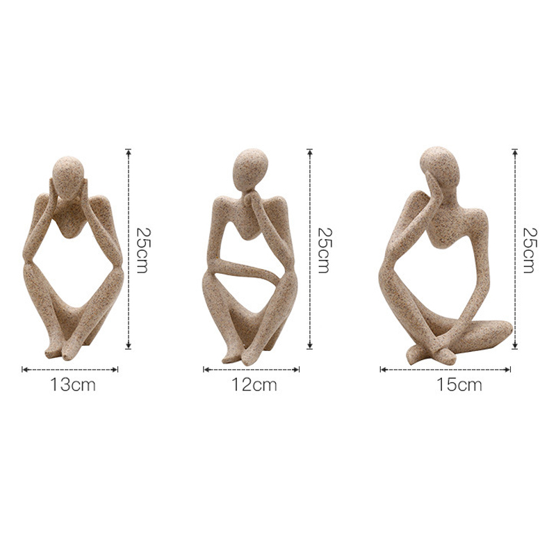 Modern European Style Forgetive Creative Abstract Miniature Office Home Decoration Sculptures Figurines Resin Thinker Statues