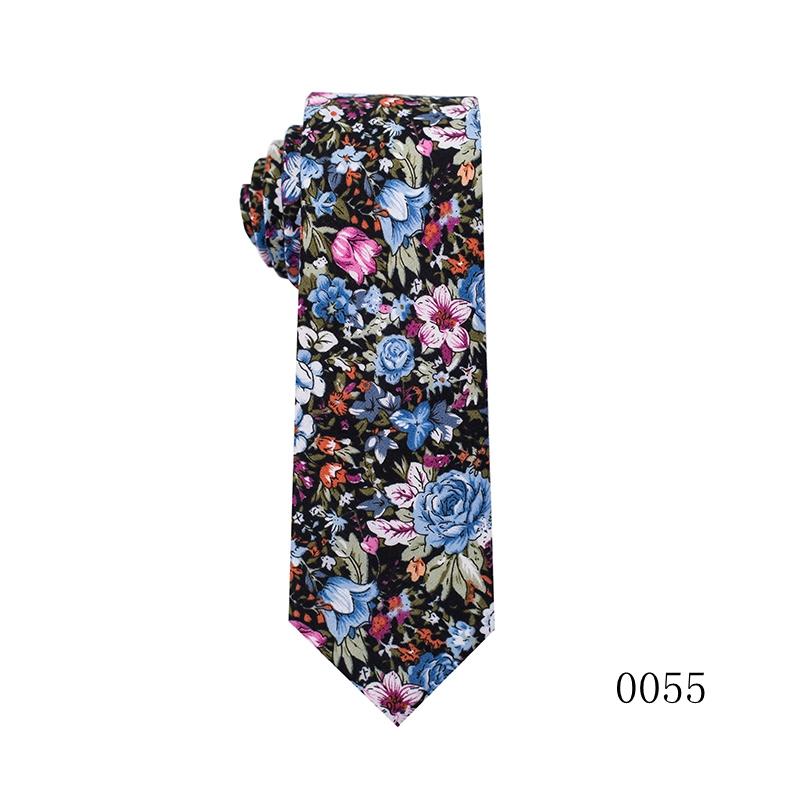 Casual Skinny Neckties for Men Cotton Plaid/Floral Slim Ties Pack