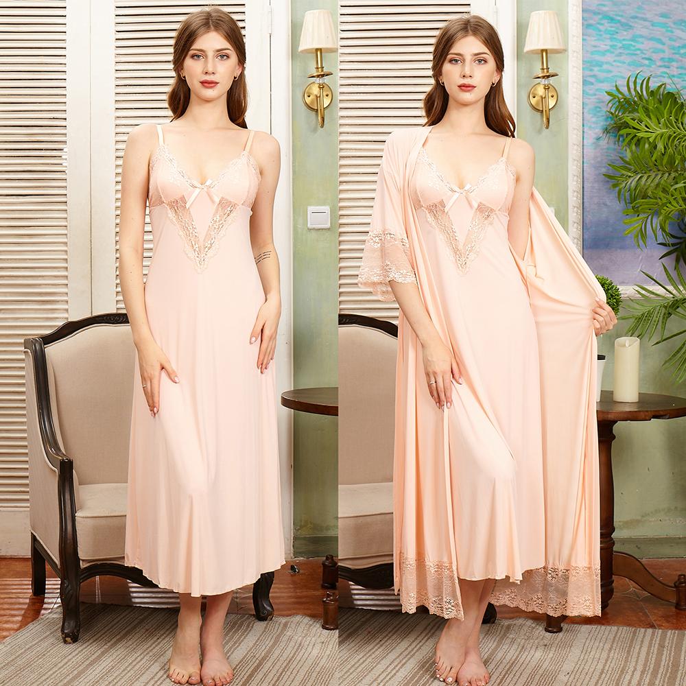 Готовы к отправке Роскошная Длинная атласная шелковая ночная рубашка и халат, комплект ночного платья, пижамы, 2 предмета, ночная рубашка для невесты для медового месяца