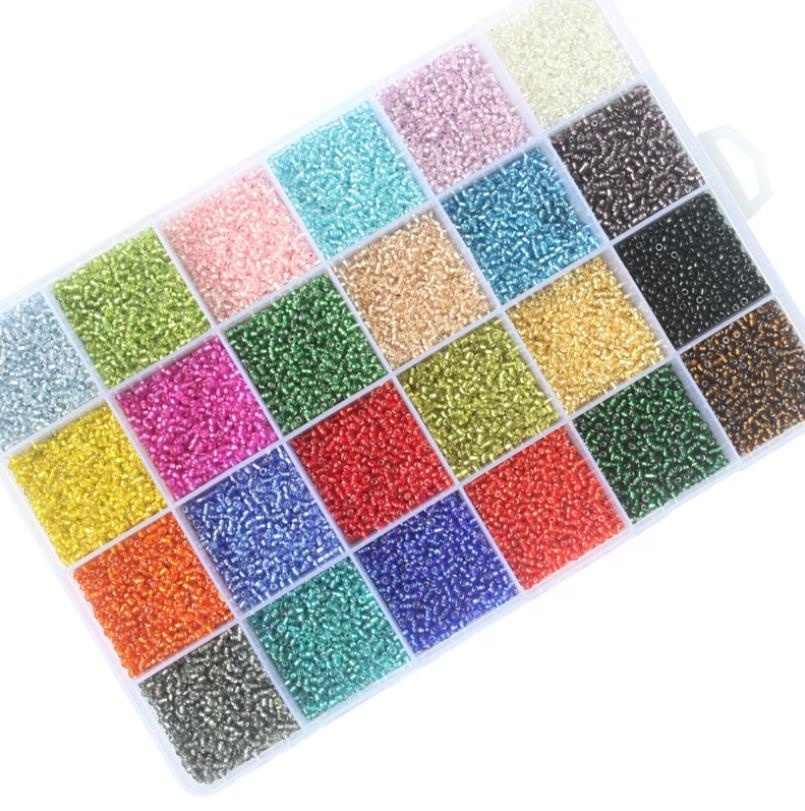 24 colors 2mm Glass Seed Beads filling round beads