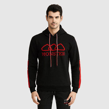 Youth black organic cotton pullover hoodie black high quality red black striped embroidered hoodie no pocket
