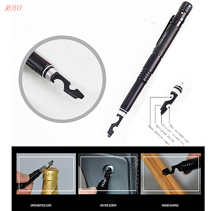 B-2024 Portable Aluminum Military Defense Pen EDC Tool pens tactical pen led light with custom