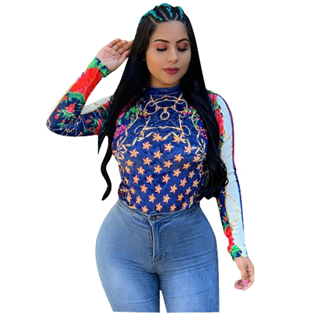 popular clothing bodycon o neck girls slim full star print long sleeve streetwear blouse top for ladies  FM-ZH5117