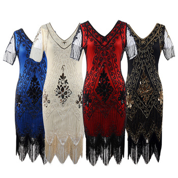 New Fashion Girls Retro Tassel Women's 1920s Dress Sequin Art Deco Flapper Dress Short Sleeve Slim Pencil Dress