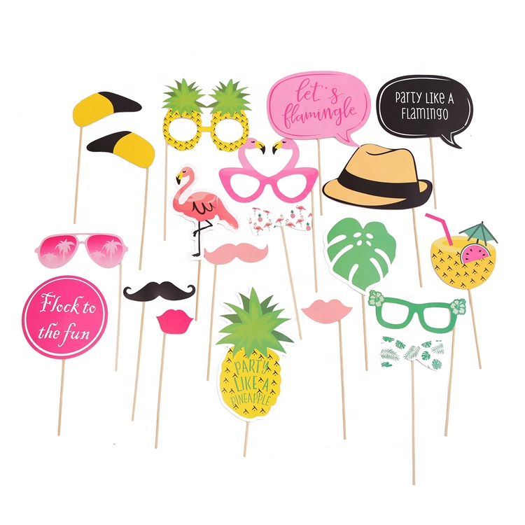 Pak van 20 Tropische Zomer Party Photo Booth Props Kit Roze Flamingo Party Als een Ananas
