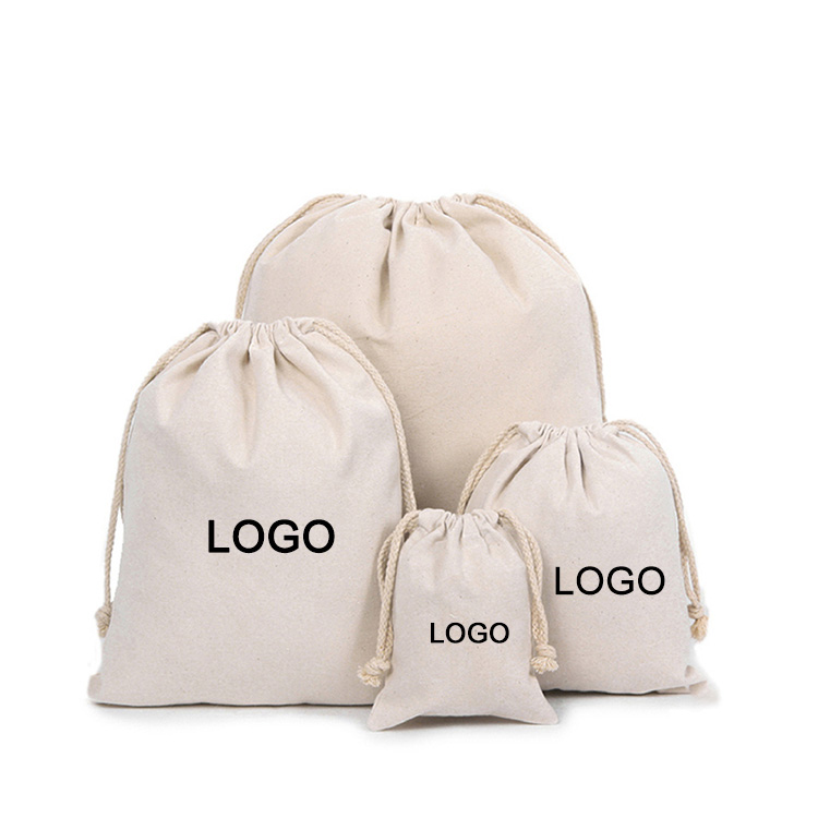 High Quality Wholesale Promotional portable reusable eco friendly custom logo sports canvas cotton muslin drawstring bag