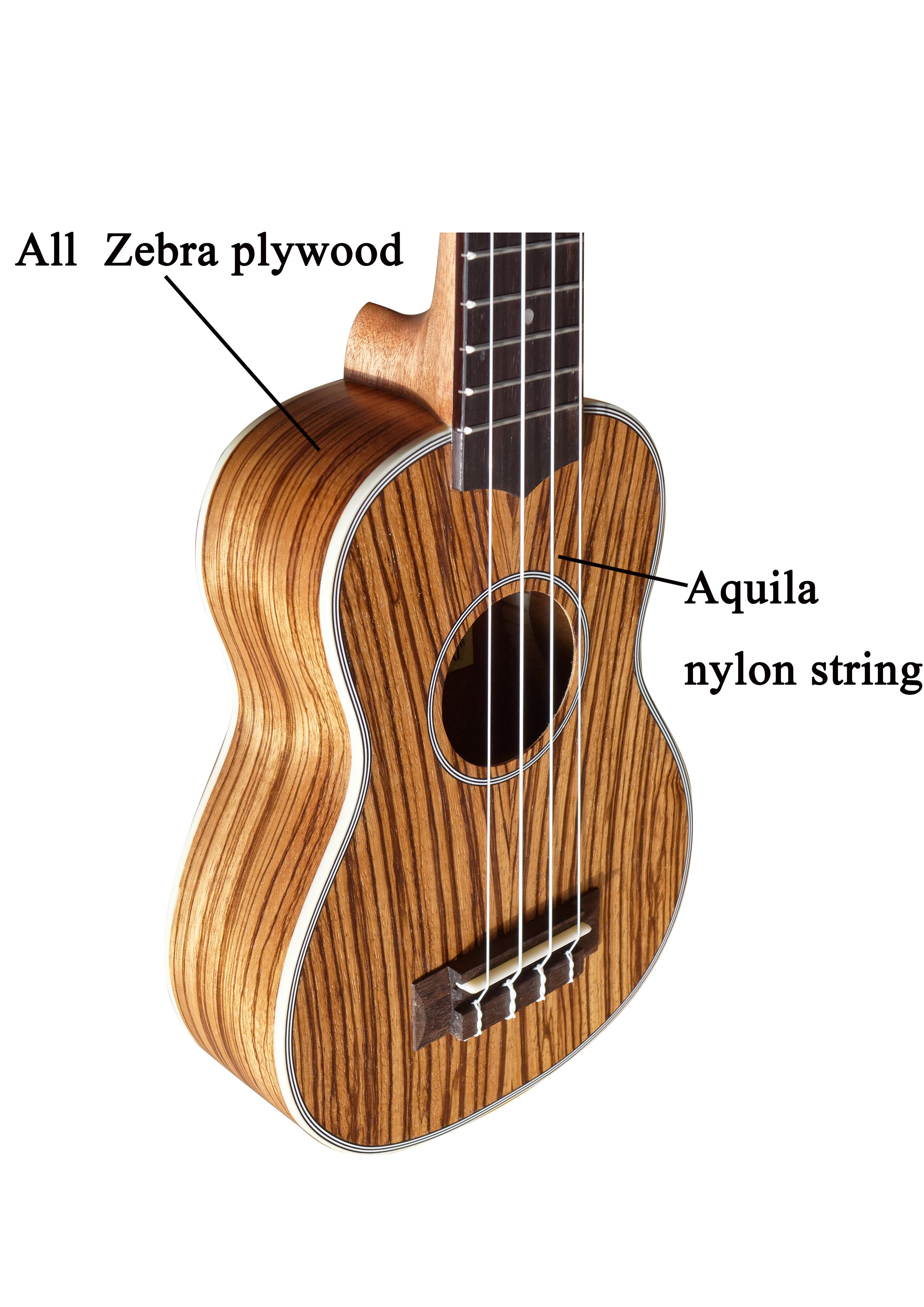 24 Inch Concert Ukelele Alle Zebrawood Hoogglans Kwaliteit Nylon Strings Ukulele S-249/N