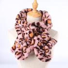 Sales Promotion Women Faux Fur Scarf Fashion Warm Winter leopard print faux rabbit fur ball Scarf