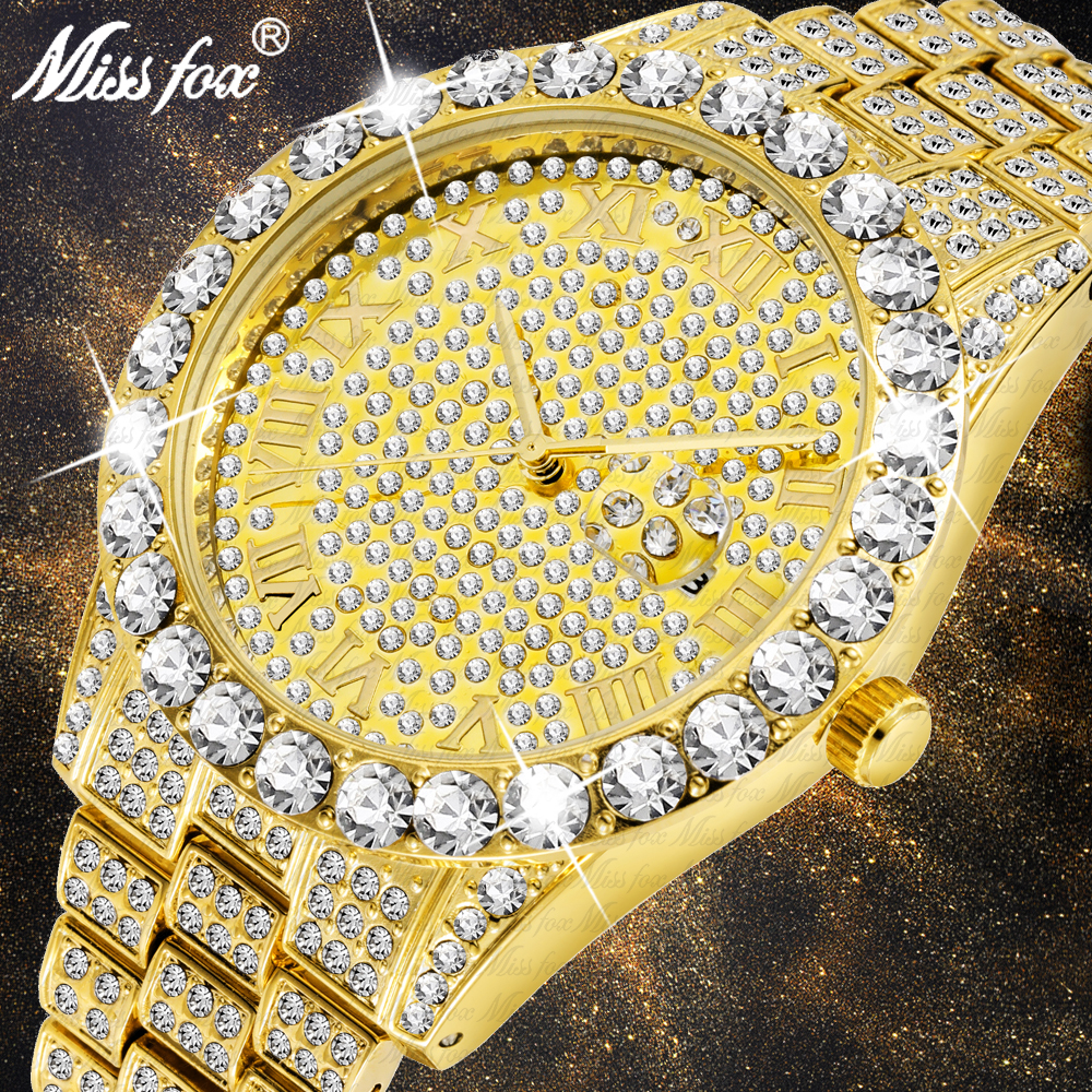 MISSFOX 4*4mm Big Diamond Watches Men Rolexable 18k Gold Plated Analog Magnifier Calendar Personalized Custom Luxury Jewelry Lcd