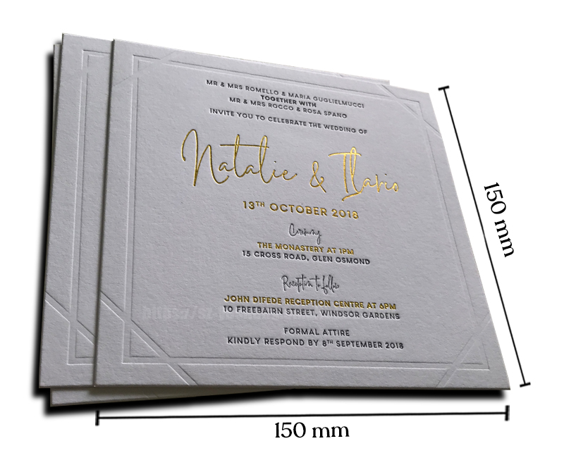 Blind/3D debossed save the date wedding invitation card sets printing happy wedding card