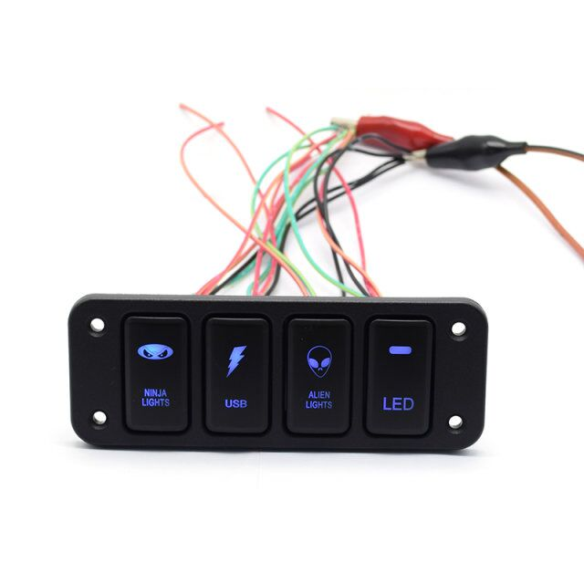 12V on off switch panel 4 gang LED Push Switch Panel for Auto Car To yota 40*20mm aftermarket parts