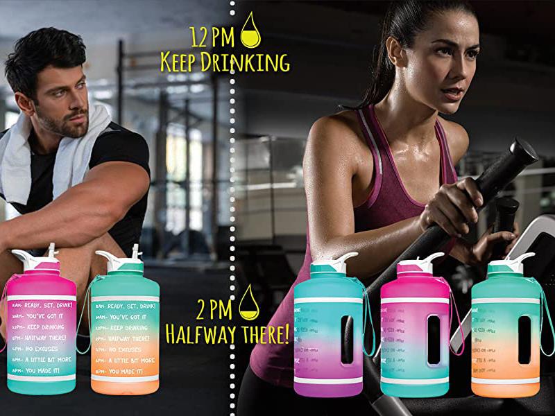 BPA القابل لإعادة الاستخدام الحر تسرب برهان جالون تحفيزية اللياقة البدنية الرياضة زجاجة المياه مع الوقت ماركر مع سترو والتعامل معها